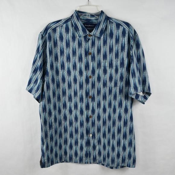 0e58f810cc85 Tommy Bahama Men Camp Shirt Size Medium Ikat On